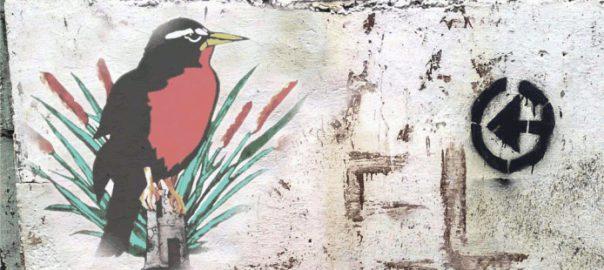 Graffiti mit einem Vogel